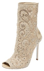 Rene Caovilla Leather Sequin Embellished beige Boots