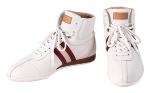 Bally Leather Red Stripe High Top Mens White Athletic