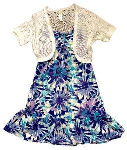Justice short dress Blue, Aqua & Purple Floral Print Shrug on Tradesy