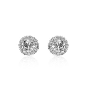 Avital & Co Jewelry 0.45 Carat Diamond Halo Stud Earrings 14k White Gold