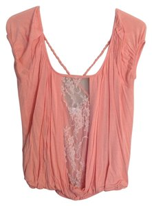 Mary Jane Lace Braided Top Coral and Beige