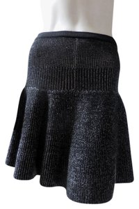 Cynthia Rowley Pull On Ribbed Knee Length Skirt Black