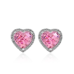 Avital & Co Jewelry 0.35 Carat Diamond Heart Shaped Earrings With Pink Quartz 14k White Gold