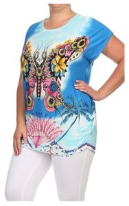 Other Butterfly Plus Size Rhinestones Tunic