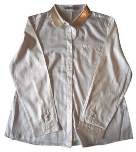 The Limited Button Down Shirt white and gold sequin