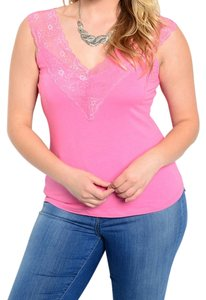 Other Lace Trim Plus Size Top pink