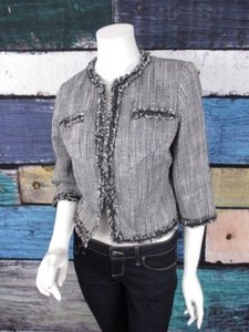 Other Muse Exclusively For Boston Proper Gray Black Fringe Blazer Jacket