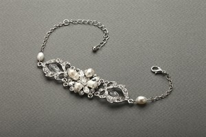 Mariell Top-selling Freshwater Pearl & Crystal Wedding Bracelet 4062b