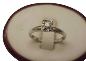Other Art Deco 14k White Gold Engagment .23ct Old European Cut Diamond ring ,1930's