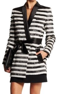 Balmain Raffia Stripped Jacket Tux Jacket Jacket Black and white Blazer