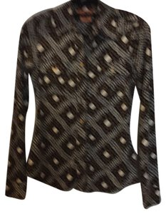 Tory Burch Top Black with brown and white designs.