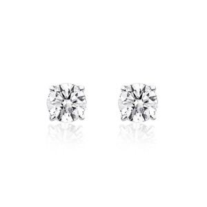Avital & Co Jewelry 0.27 Carat Round Brilliant Cut Diamond Solitaire Stud Earrings 14k White Gold