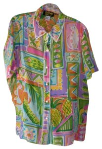 Bob Mackie Tropical Motif Button Down Shirt