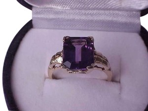 Other Desighner B&F Victorian 10K Yellow Gold Large Genuine Huge Amethyst Ring, early 1900s