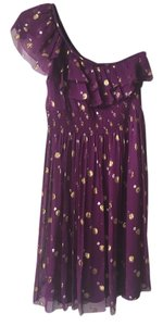Nicole Miller Prom Polka Dot Silk Gold Dress