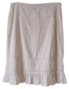 Odille Anthropologie Pink Rose White Skirt Pink, white
