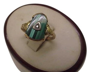 Other Antique Victorian 10k Rosey Genuine Malachite Diamond ring, late 1800's