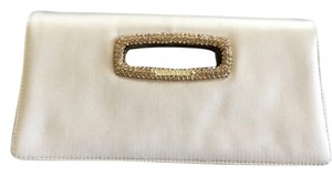 Jimmy Choo Stunning Satin Evening Crystal Embellished champagne Clutch