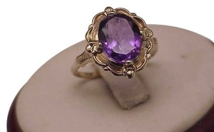 Other Estate Vintage Art Deco Genuine Amethyst 10K Yellow Gold Ring,1930s