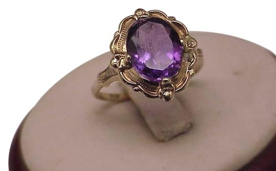 Other Estate Vintage Art Deco Genuine Amethyst 10K Yellow Gold Ring,1930s Image 0