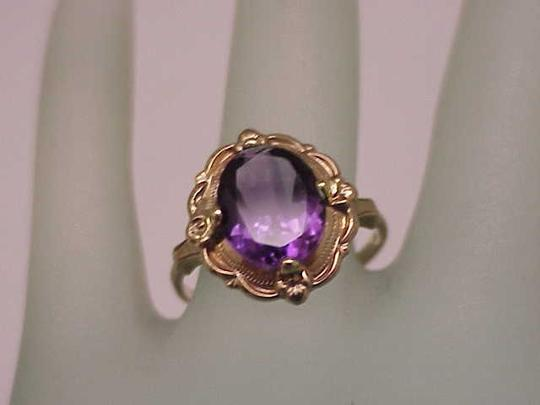 Other Estate Vintage Art Deco Genuine Amethyst 10K Yellow Gold Ring,1930s Image 1