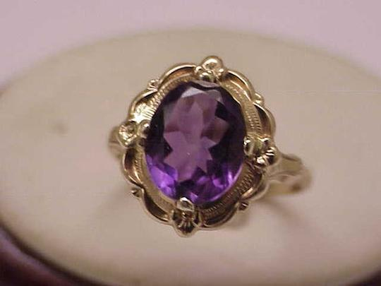 Other Estate Vintage Art Deco Genuine Amethyst 10K Yellow Gold Ring,1930s Image 2