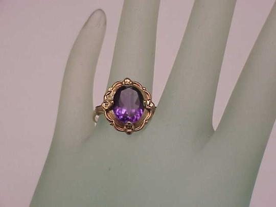Other Estate Vintage Art Deco Genuine Amethyst 10K Yellow Gold Ring,1930s Image 3
