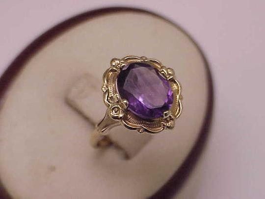 Other Estate Vintage Art Deco Genuine Amethyst 10K Yellow Gold Ring,1930s Image 4