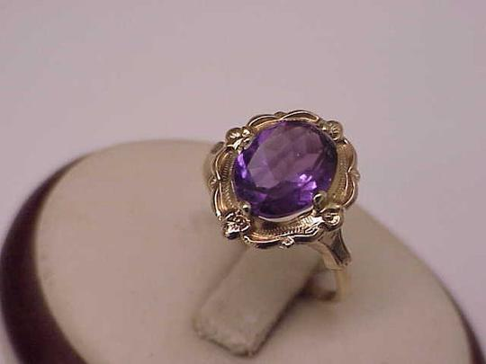 Other Estate Vintage Art Deco Genuine Amethyst 10K Yellow Gold Ring,1930s Image 5