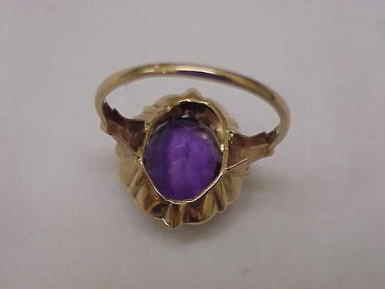 Other Estate Vintage Art Deco Genuine Amethyst 10K Yellow Gold Ring,1930s Image 6