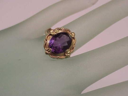 Other Estate Vintage Art Deco Genuine Amethyst 10K Yellow Gold Ring,1930s Image 7