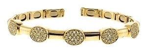 Sonia B 14k gold 1 ct diamond pave' link flexible cuff bracelet