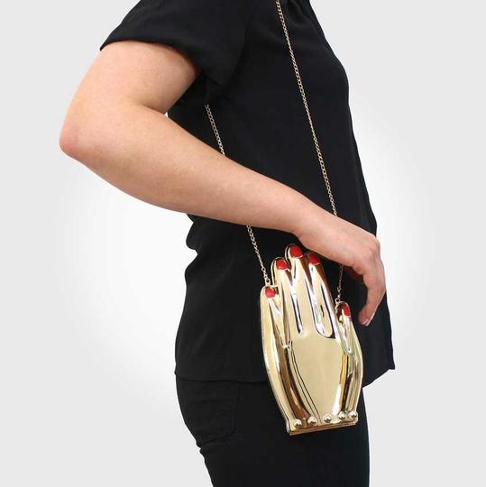 Charlotte Olympia Hand Metal Metal Gold Clutch Image 2