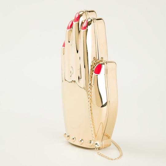 Charlotte Olympia Hand Metal Metal Gold Clutch Image 3