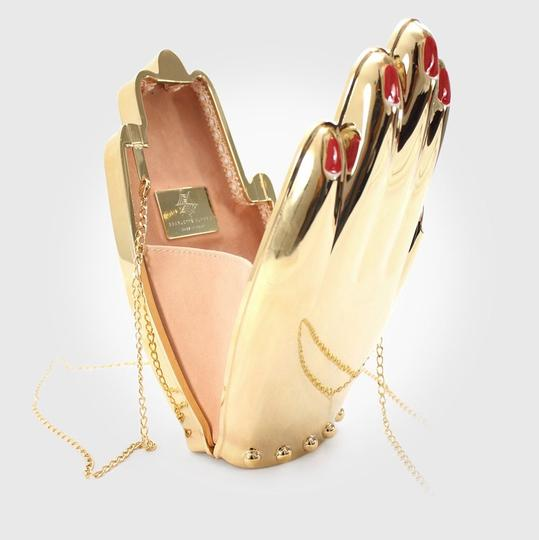 Charlotte Olympia Hand Metal Metal Gold Clutch Image 4