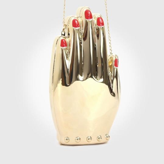 Charlotte Olympia Hand Metal Metal Gold Clutch Image 5