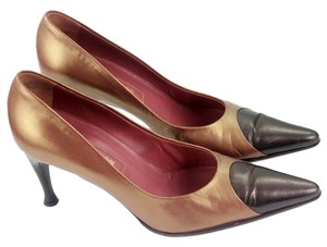 Sergio Rossi Brown & Gold Pumps