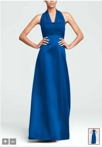 David's Bridal Horizon Blue Satin Empire Ball Gown with Illusion Halter Style 81441 Feminine Bridesmaid/Mob Dress Size 8 (M)