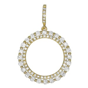 0.71ct Diamond 14k Yellow Gold Circle Pendant