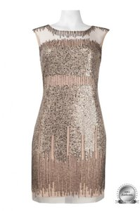Adrianna Papell Taupe/Rose Gold Chiffon Beads Sequins Illusion Yoke Beaded Sheath Formal Bridesmaid/Mob Dress Size 6 (S)