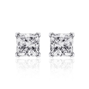 Avital & Co Jewelry 1.10 Carat Princess Cut Diamond Solitaire Stud Earrings 14k White Gold