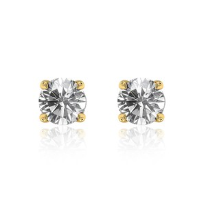 Avital & Co Jewelry 0.79 Carat Round Brilliant Cut Diamond Solitaire Stud Earrings 14k Yellow Gold