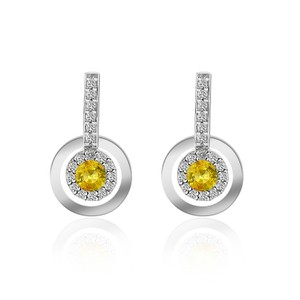 Avital & Co Jewelry 0.42 Carat Yellow Sapphire With Diamond Drop Earrings 14k White Gold