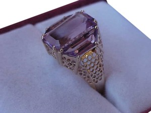 Vintage Estate 14k Yellow Gold Huge Genuine Amethyst Filigree Ring, 1950's