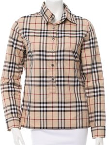 Burberry Nova Check Cotton Logo Plaid Top Beige, Black