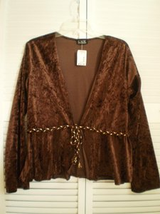 CKW Long Sleeved Velvety W/braided Tie Top