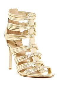 Via Spiga Caged Heels Heels Open Toe Leather Heels Gold Pumps