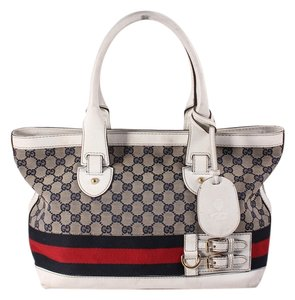 Gucci Heritage Medium Leather/canvas Tote in White/Navy/Red