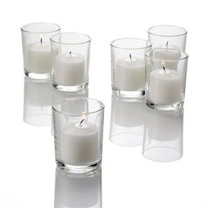 72 Clear Votive Candle Holder & 72 White Unscented Candles