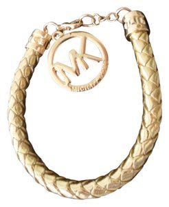 Michael Kors New Michael Kors MK Logo GOLD Leather Adjustable Bracelet With Pouch